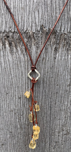 Handmade Organic Silver Diamond Leather Adjustable Lariat Necklace with Variegated Citrine Cluster