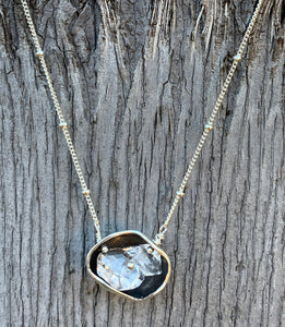 Sterling Silver Herkimer Diamond Pod Necklace