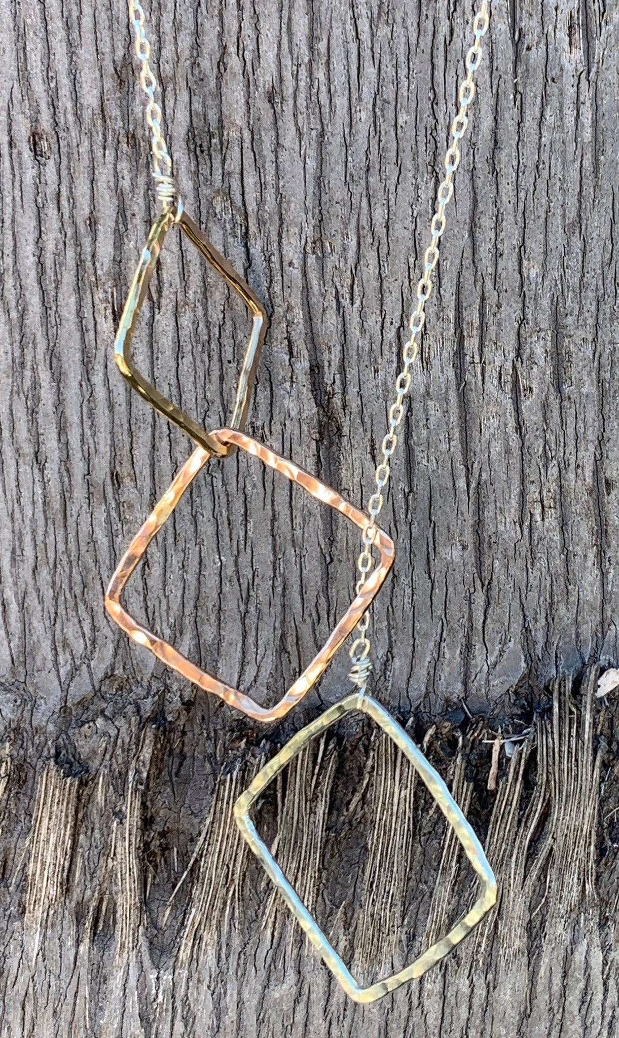 Mixed Metal Three Squares Long Lariat Necklace