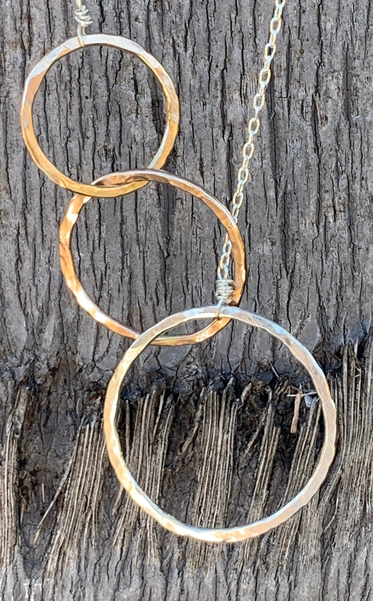 Mixed Metal Three Circles Long Lariat Necklace