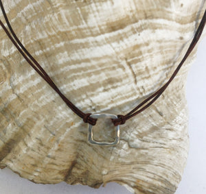 Handmade Organic Sterling Silver Organic Square Leather Choker Necklace