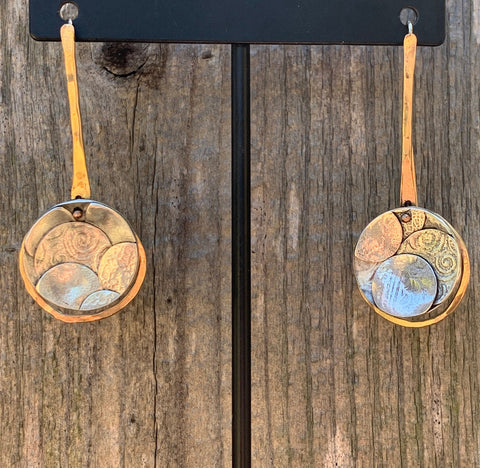 Handmade Gold Dangle Earrings with Fused Circle Drop