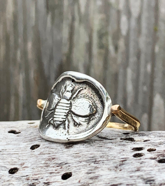 Silver Bee Ring with 14K Gold Fill Band