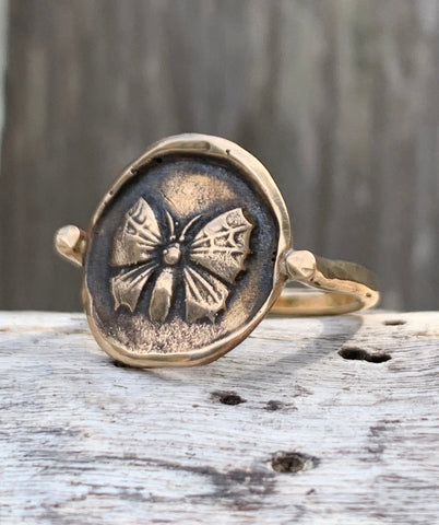 Bronze Butterfly Ring with 14K Gold Fill Band