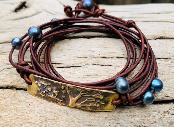 Hand Made Cast Bronze Tree Bar Wrap Antique Brown Leather Bracelet with six 5mm Pearls and Pearl Closure