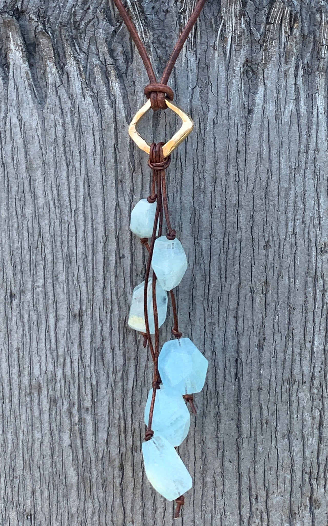 Handmade Organic Bronze Diamond Leather Adjustable Lariat Necklace with Variegated Aquamarine Cluster