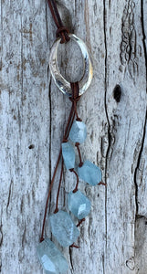 Handmade Sterling Silver Organic Hammered Oval Leather Adjustable Long Lariat Necklace with Variegated Aquamarine Cluster