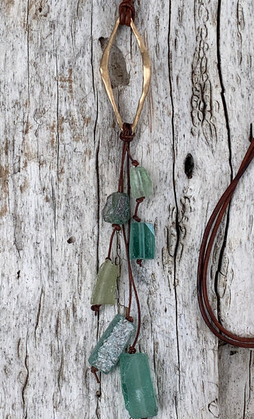 Handmade Bronze Organic Diamond Leather Adjustable Long Lariat Necklace with Roman Glass