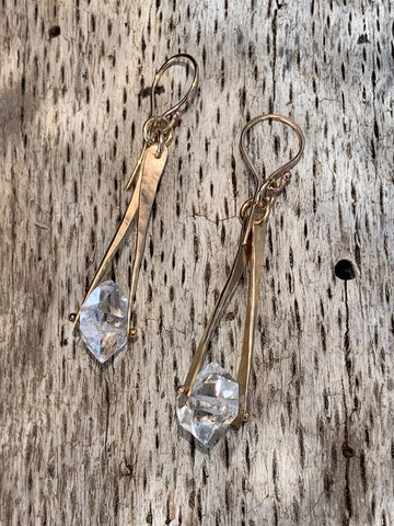 14K Gold Fill Herkimer Diamond Drop Earrings