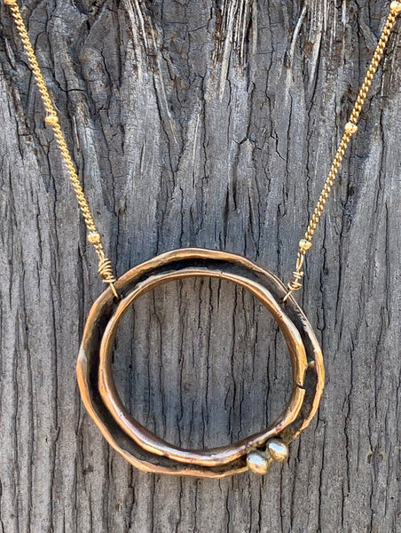 14k Gold Fill Organic Two Peas in a Pod Circle Necklace with Bronze Beads