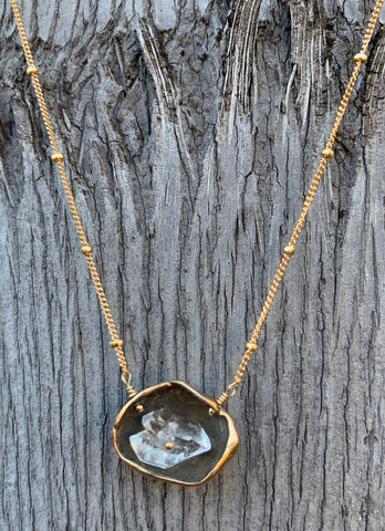 14K Gold Fill Herkimer Diamond Pod Necklace