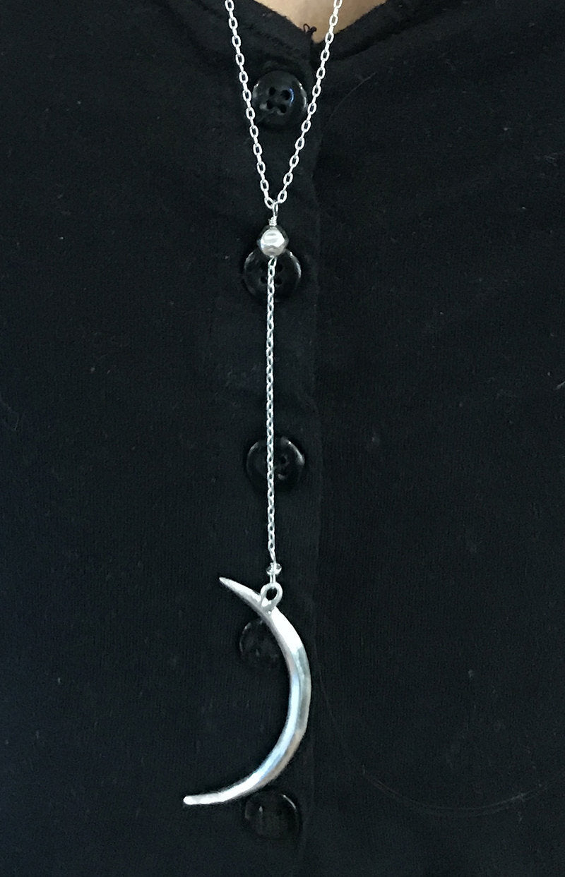 Handmade Sterling Silver Long Crescent Moon Lariat Delicate Necklace