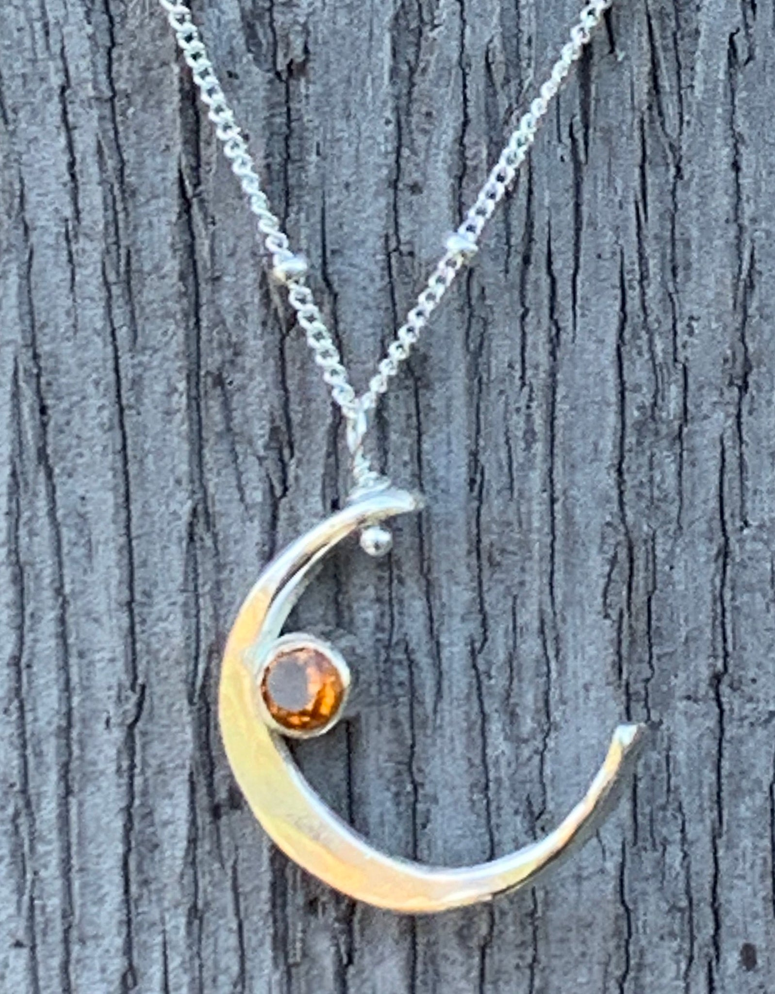 Handmade Sterling Silver Crescent Moon Necklace with Tube Set Citrine