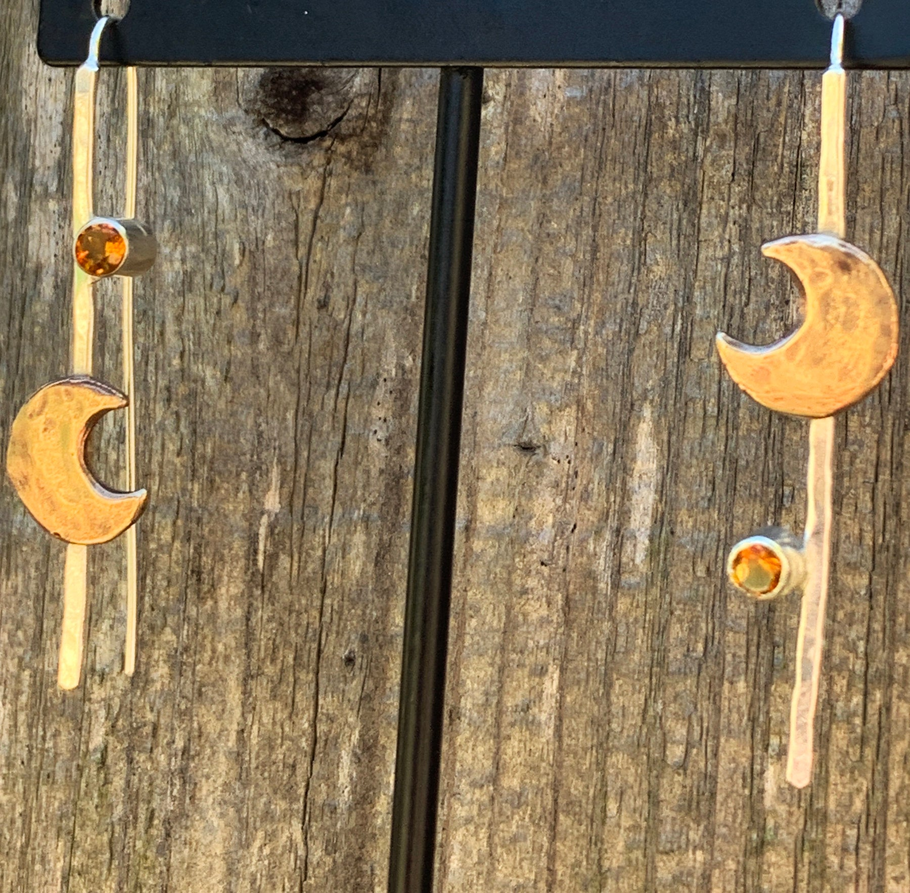 Handmade Sterling Silver Earrings with Bronze Hammered Crescent Moon and Tube Set Citrine