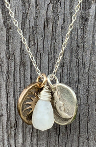 Handmade Sterling Silver Necklace with Sterling Silver Crescent Moon & Bronze Sun Charms with Moonstone Drop