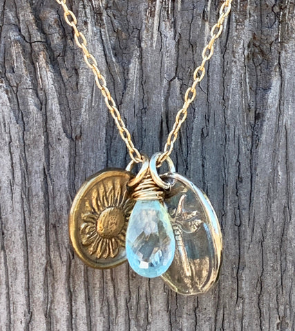 Handmade 14K Gold Fill Necklace with Sterling Silver Dragonfly & Bronze Sunflower Charms with Aquamarine Drop