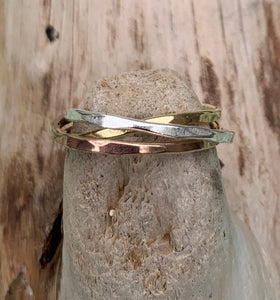 Mixed Metal Hammered and Connected Three Ring Set
