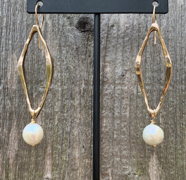 Handmade Bronze Organic Diamond Shape Long Earrings with Pearl Drop