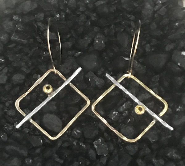 Handmade 14K Gold Fill Square Earrings with Sterling Silver Tube Set Citrine
