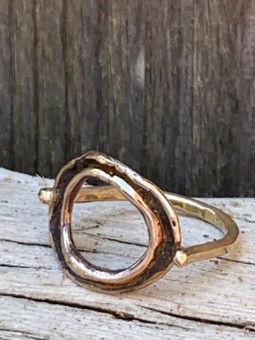 Organic Bronze Circle Ring with 14K Gold Fill Band