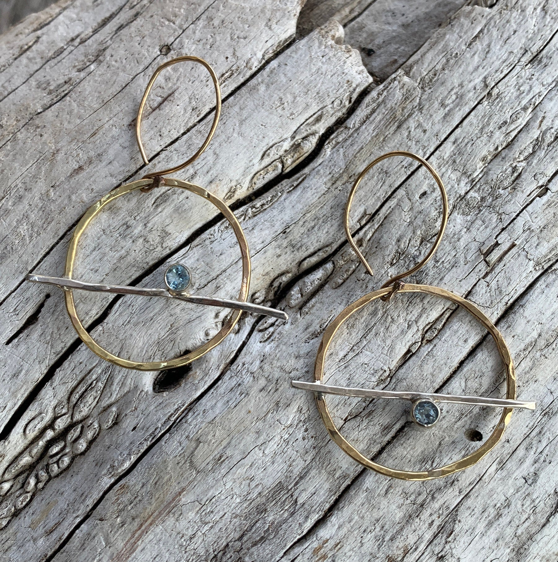 Handmade 14K Gold Fill Circle Earrings with Sterling Silver Tube Set Aquamarine