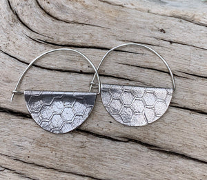 Honeycomb Sterling Silver Hoop Earrings