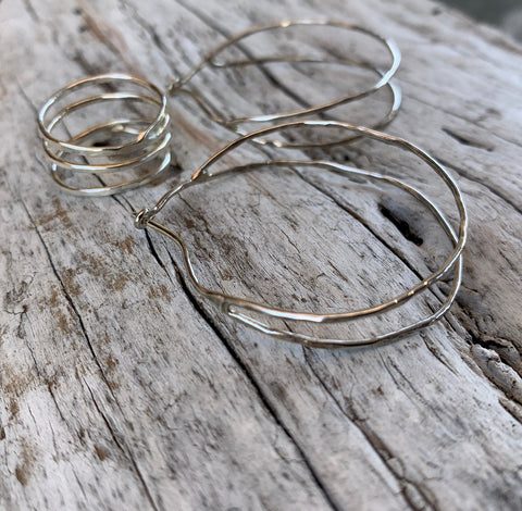 Hammered Double Hoop Sterling Silver Earrings