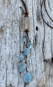 Handmade Bronze Organic Rectangle Leather Adjustable Long Lariat Necklace with Variegated Step Cut Aquamarine