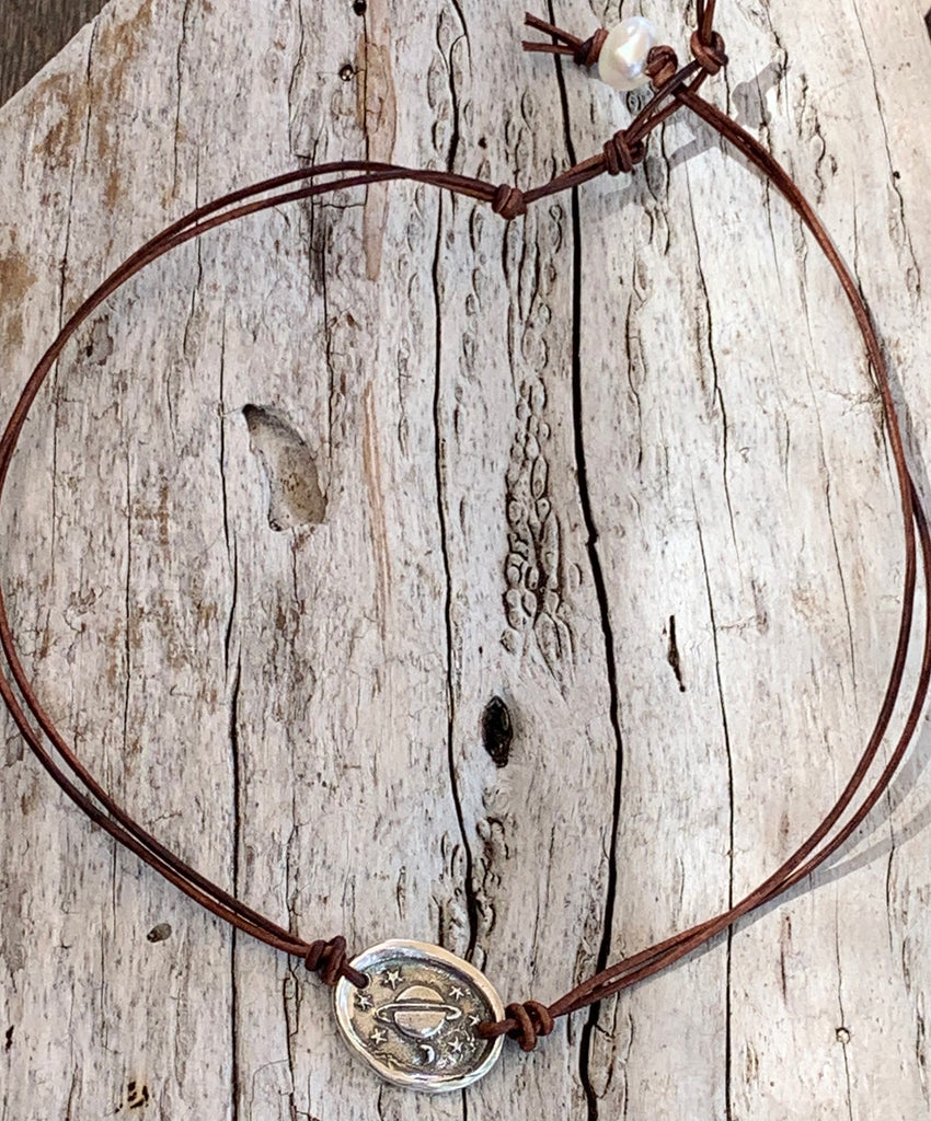Handmade Organic Sterling Silver Saturn Leather Choker Necklace