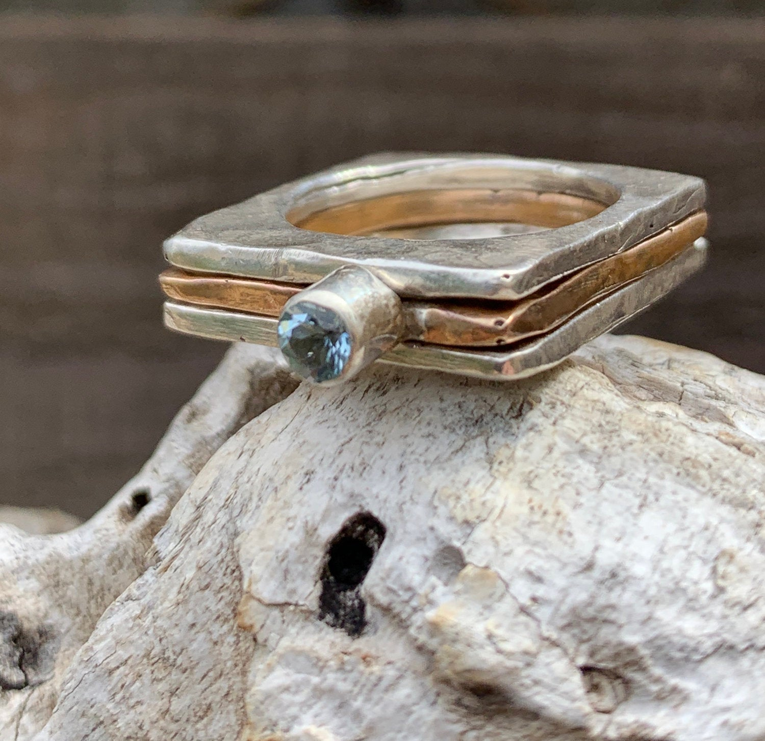 Handmade Mixed Metal Hammered Square Stacking Rings with Tube Set Aquamarine