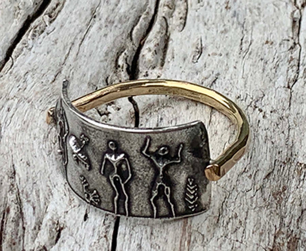 Silver Cave Art Ring with 14K Gold Fill Band