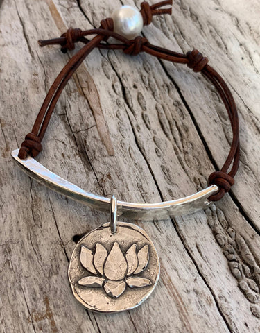 Hand Made Cast and Hammered Sterling Silver Organic Bar and Lotus Charm Leather Bracelet with Adjustable Silver Pearl Closure