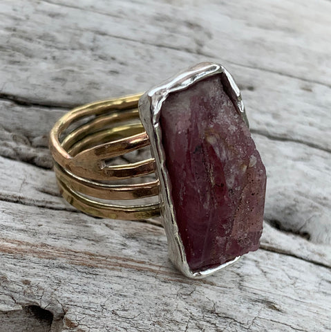Handmade Mixed Metal Rectangular Raw Pink Tourmaline Wrap Style Ring