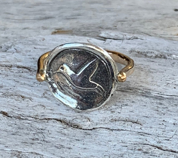 Silver Hummingbird Charm Ring with 14K Gold Fill Band