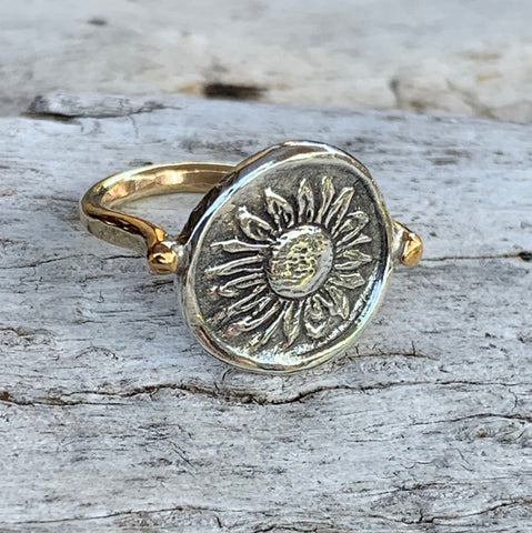 Silver Sunflower Charm Ring with 14K Gold Fill Band