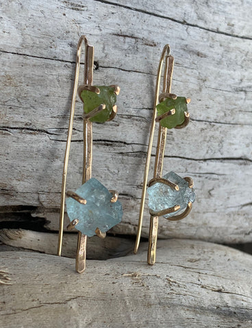 14K Gold Fill Pin Earrings with Prong Set Raw Peridot and Aquamarine