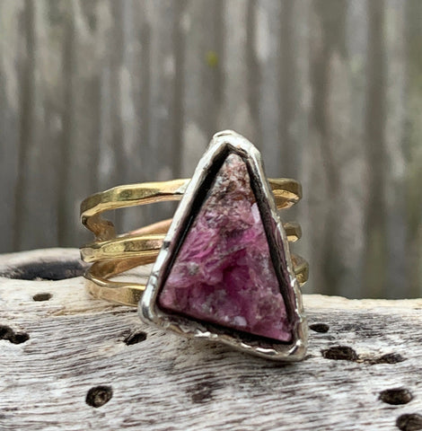 Handmade Mixed Metal Triangular Pink Tourmaline Druzy Wrap Style Ring