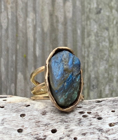 Handmade Gold Fill Oval Raw Labradorite Wrap Style Ring