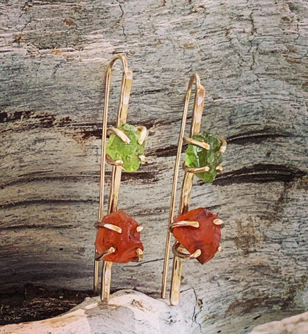 14K Gold Fill Pin Earrings with Prong Set Raw Peridot and Carnelian