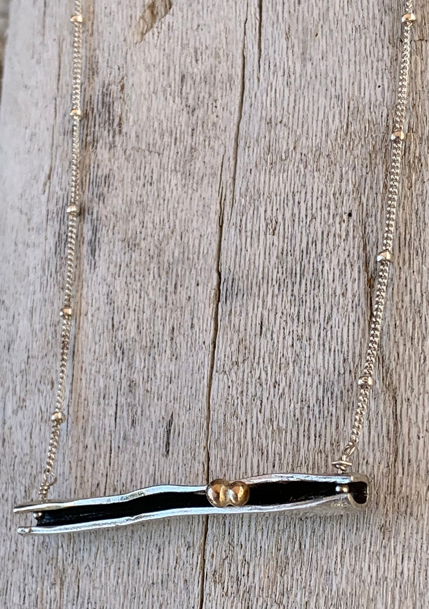Sterling Silver Organic Two Peas in a Pod Bar Necklace with Bronze Beads