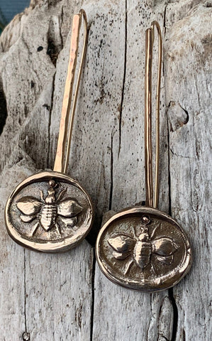 Handmade 14K Gold Fill Long Earrings with Bronze Bee Charms