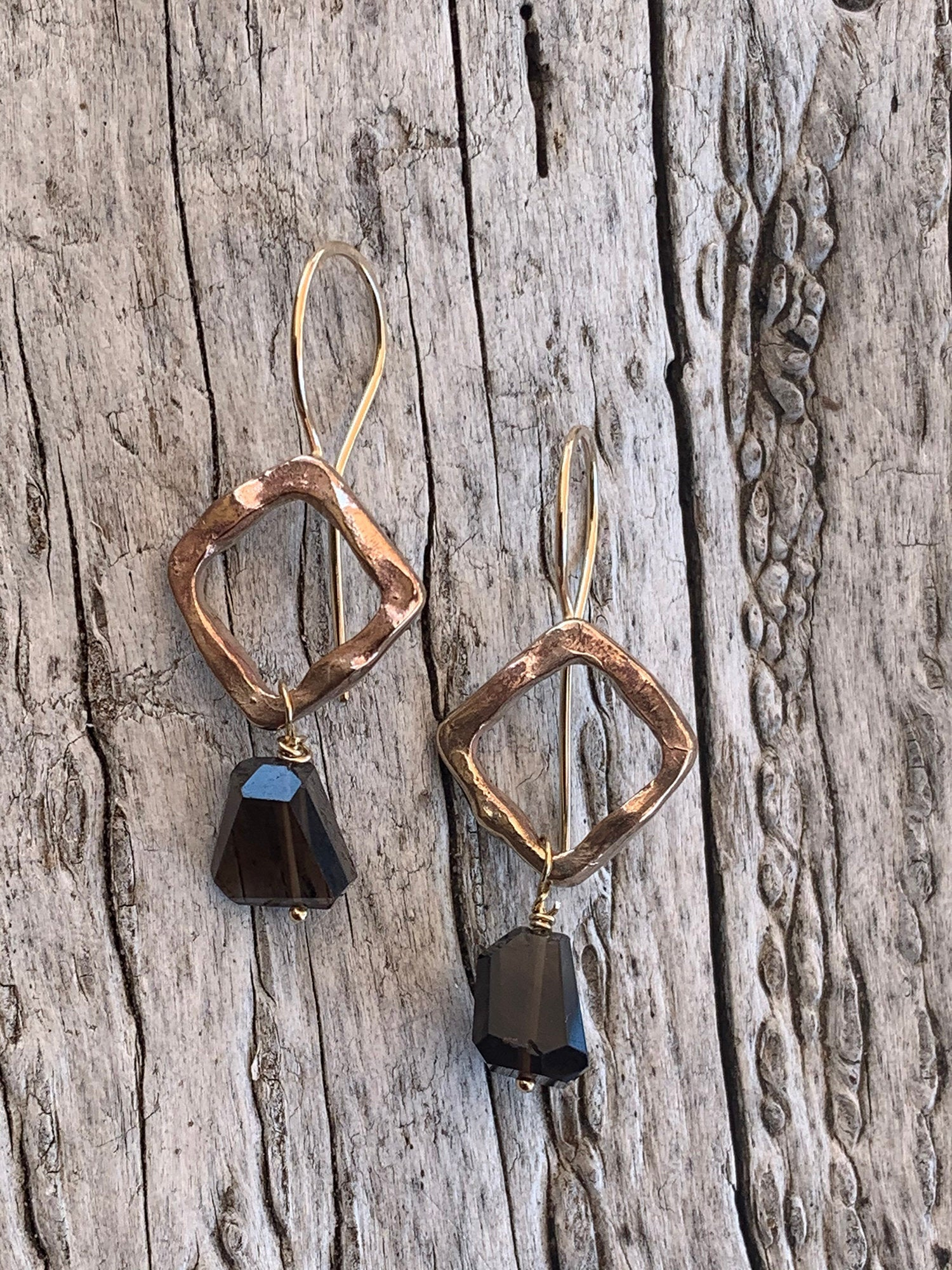 Handmade Bronze Organic Square Earrings with Step Cut Smokey Quartz Drop