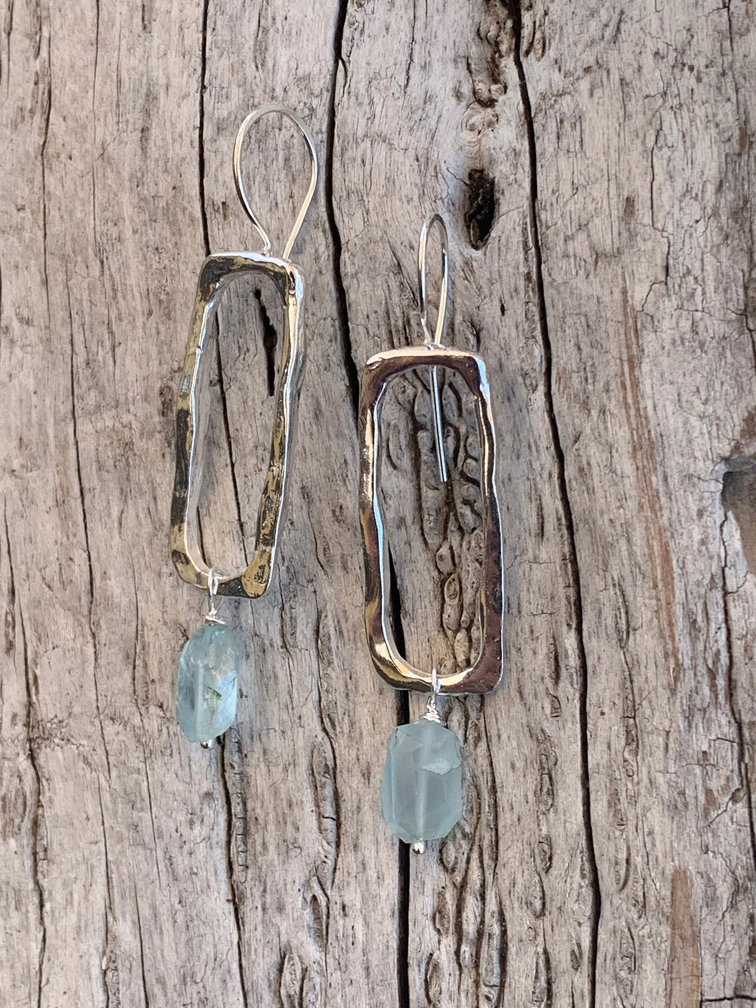 Handmade Sterling Silver Organic Rectangle Earrings with Step Cut Aquamarine Drop