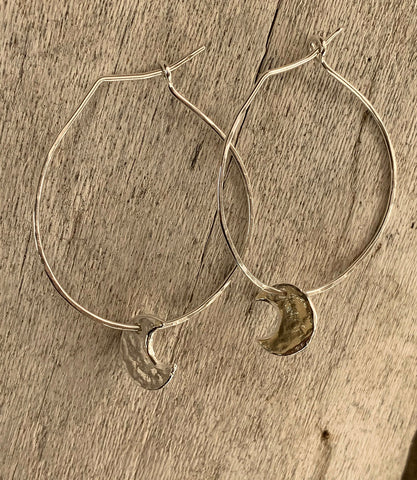 Handmade Sterling Silver Hoop Earrings with Silver Crescent Moons