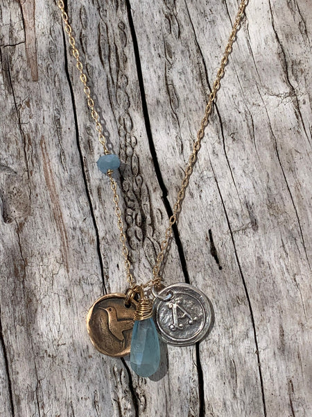 Memorial 14K Gold Fill Necklace with Sterling Silver Letter & Bronze Hummingbird Charms with Aquamarine Drop