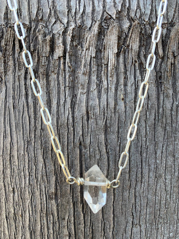 Handmade Single Herkimer Diamond Necklace on Sterling Silver Paper Clip Chain