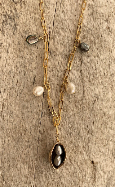 Handmade Bronze Two Peas in a Pod Necklace with Seed Pearls on 14K GF Paper Clip Chain