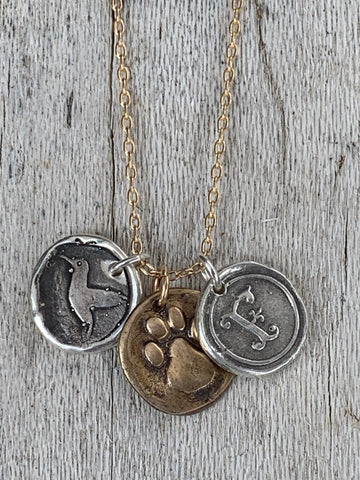 Four Legged Friend Memorial 14K Gold Fill Necklace with Sterling Silver Letter and Hummingbird Charms with Bronze Paw Charm