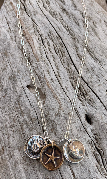 Sterling Silver Paper Clip Chain Necklace with Sterling Silver Sun and Moon Charms with a Bronze Star Charm