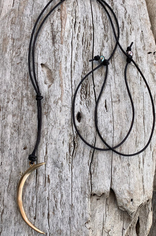 Handmade Bronze Long Crescent Moon Leather Necklace